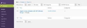 WP Ultimate Recipe Plugin Recipe list