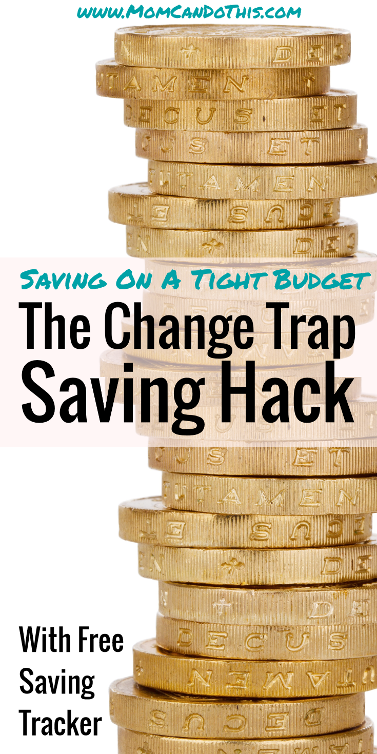Super easy saving hack to save even on a tight budget.  Saving money ideas to spend less. Download a free saving tracker.