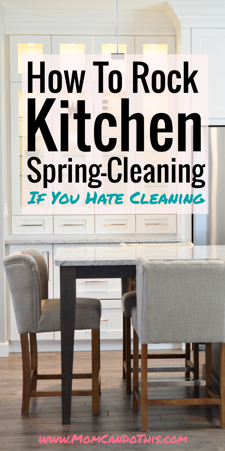 Cleaning Hacks and Tips for spring cleaning the kitchen if you hate spring cleaning. Cleaning motivation for deep cleaning the kitchen or at least some parts of it. Click through for cleaning your kitchen more relaxed! + Free Cheatsheet.