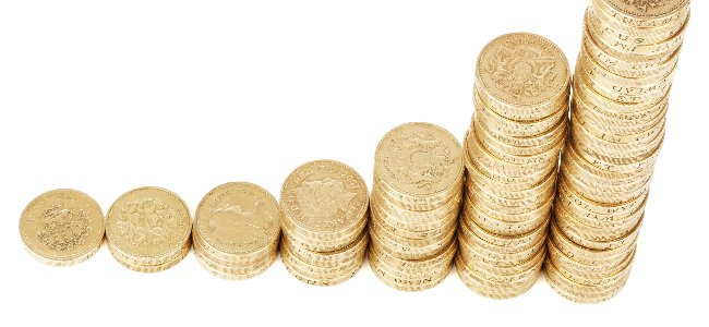 piles of coins - get paid writing for a content mill at home
