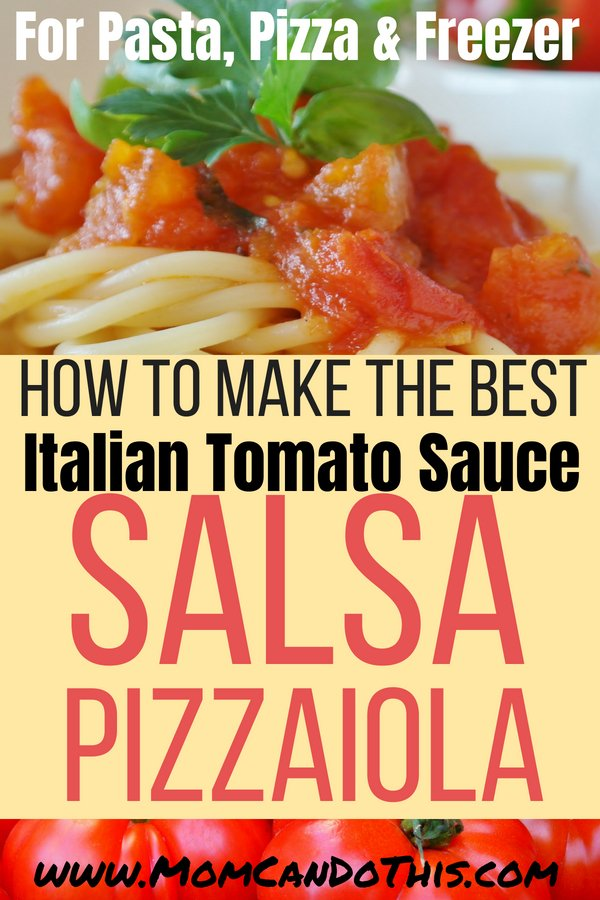 An Homemade Italian Tomata Sauce Recipe that is easy to make from scratch, super tasty, and freezer-friendly. One of the best Italian recipes. Make salsa pizzaiola in large batches and freeze some Italian Tomato Sauce for Pasta and Pizza. Free recipe printable included.