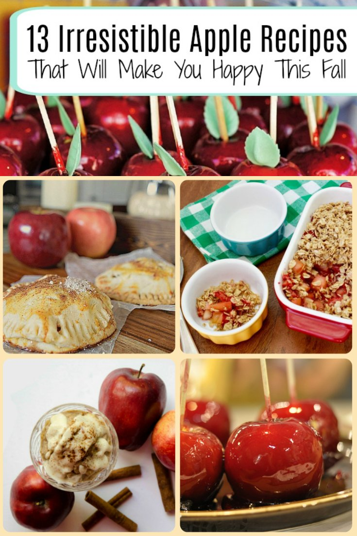 13 mouth-watering Apple Fall Recipes that will make you happy this fall. Try Apple Recipes to give away, to preserve or to just eat all by yourself when you need some sweet apple goodness.