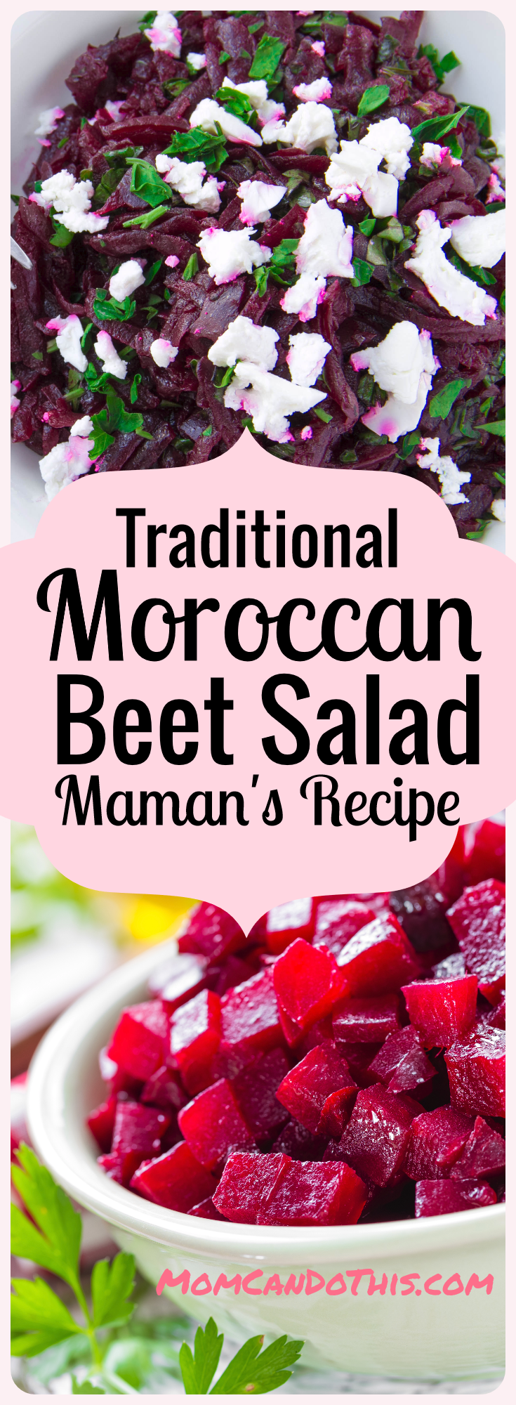 Traditional Moroccan Beet Salad. Easy dinner recipe for Moroccan Food. Click through and print the recipe! Easy Moroccan Salad recipe to try.