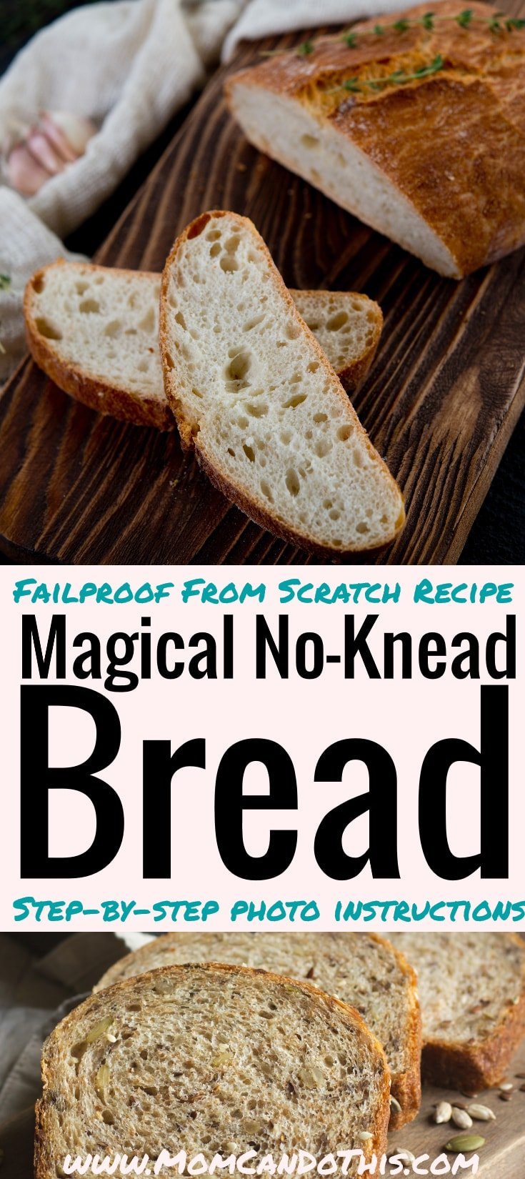 Failproof homemade bread recipe with four ingredients only. Pictured step-by-step instructions for crusty homemade bread. Ridiculously easy from scratch recipe that will impress your guests. Artisan bread recipe made easy. Stop searching bread recipes, make this one! Printable recipe.