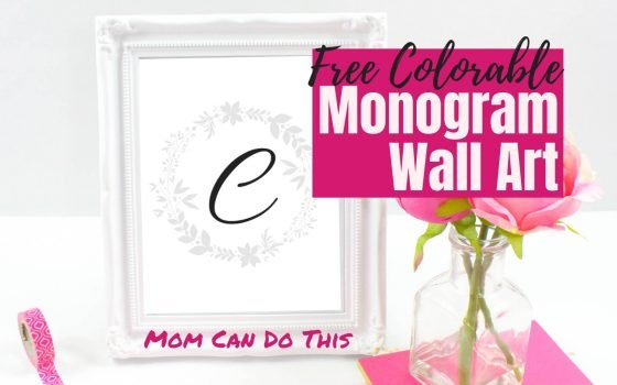 Free Monogram Wall Art in black and grey. Use as letter coloring pages or minimalist monogram wall art. Download the alphabet free instantly at Mom Can Do This.