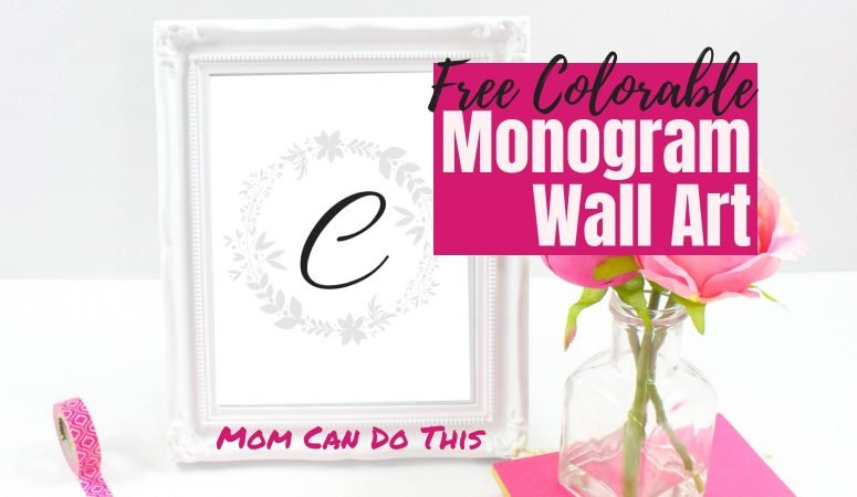 Free Printable Monogram Wall Art – Colorable!
